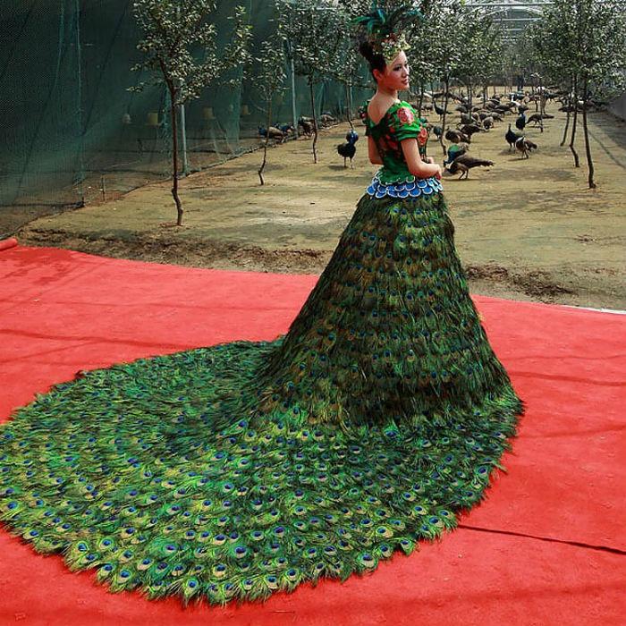 Перья – оригинальное решение для создания платья