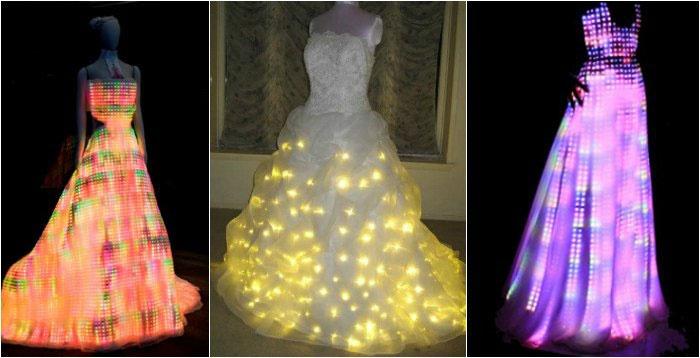 Свадебный наряд со светодиодами