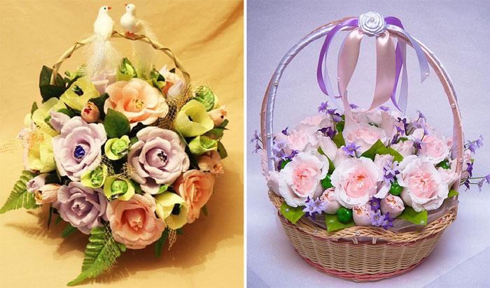 Цветы в корзине в подарок на свадьбу очень красиво, букет