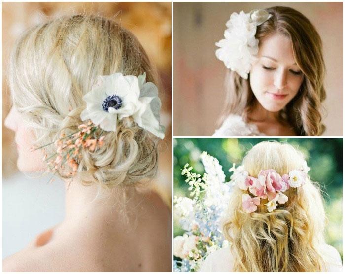 Укладка шевелюры с вплетенными цветами для длинноволосой невесты