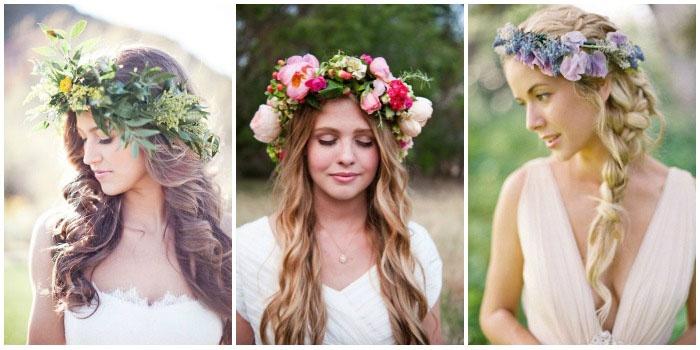 Образ длинноволосой невесты: цветочный венок вместо фаты
