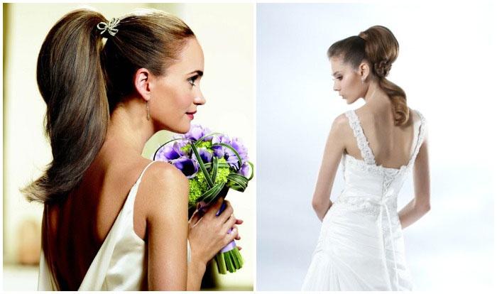 Образ длинноволосой невесты: завязанный на затылке хвост