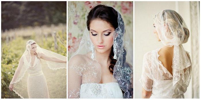 Фата-мантилья для длинноволосой невесты