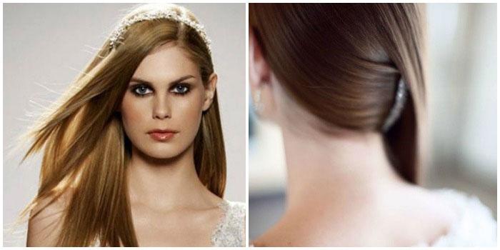 Элегантная свадебная укладка на выпрямленные длинные волосы