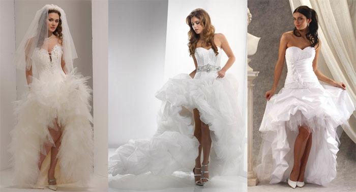 Образ невесты: недлинные пышные кружевные платья со шлейфом