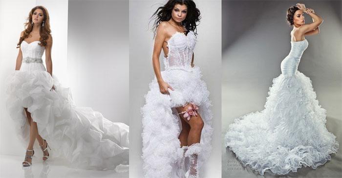 В испанском стиле: недлинное платье со шлейфом для невесты