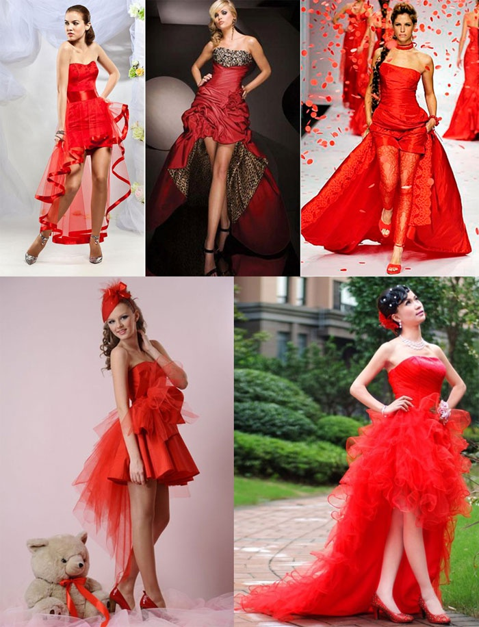 Свадебный образ: короткое красное платье со шлейфом