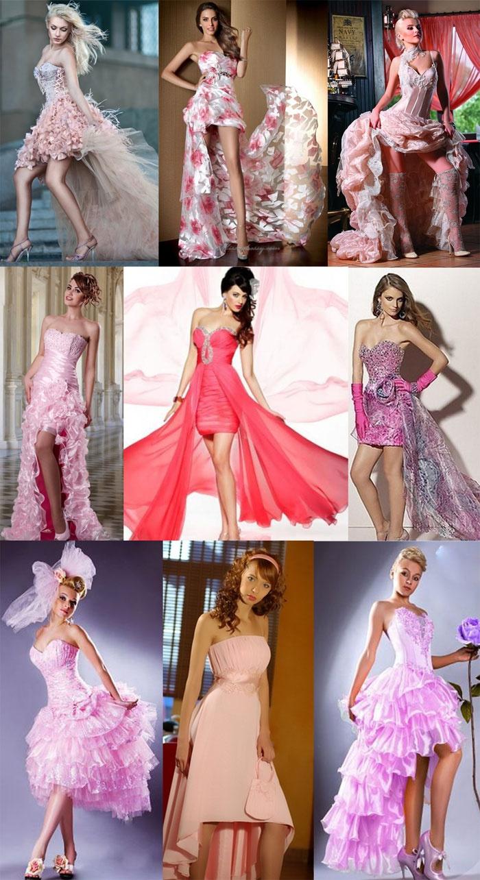 Короткие розовые платья со шлейфом для новобрачной