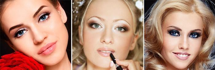 Свадебный макияж для губ на круглом лице