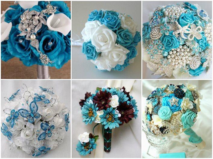 Покупка бирюзовые букеты на свадьбу розы