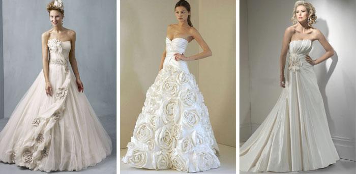 Свадебные платья, украшенные цветами