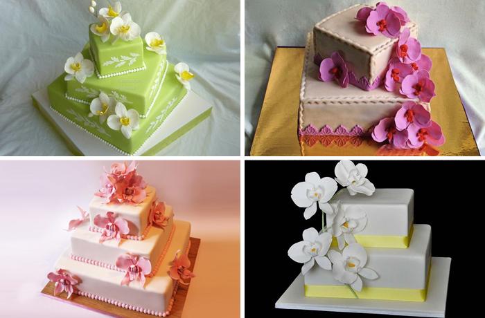Многоярусные квадратные торты с орхидеями