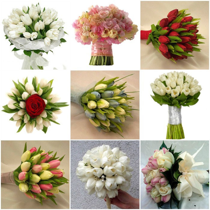 Цветы на свадьбу: композиции с тюльпанами