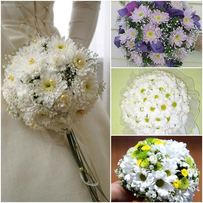 Букетный ансамбль на свадьбу: хризантемы