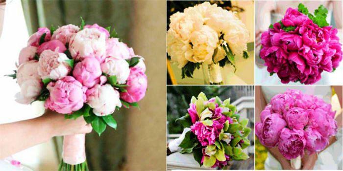 Яркий свадебный букет: пионы