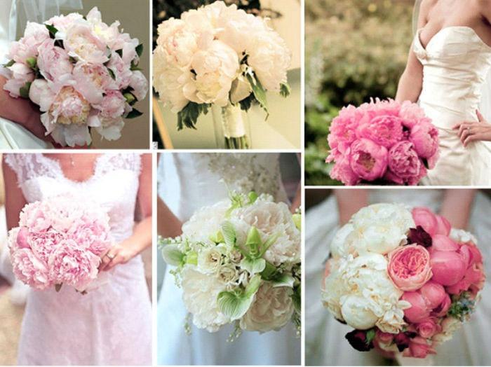 Нежные свадебные букеты: пионы
