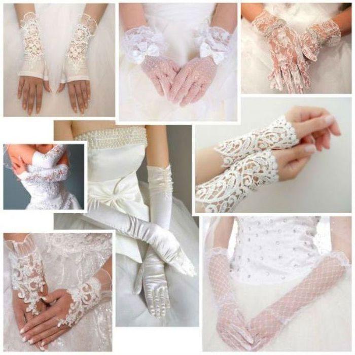 Перчатки на свадьбу из различных тканей