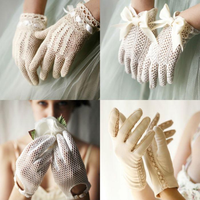 Короткие перчатки на свадьбу