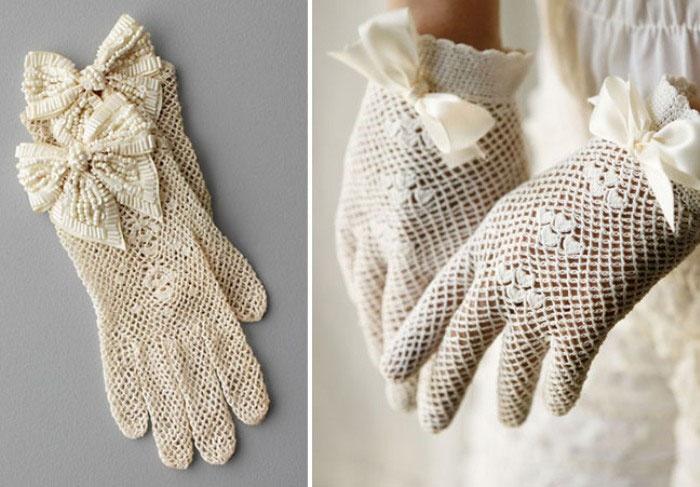 Ажурные свадебные перчатки