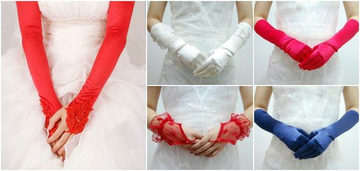 Цветные перчатки для невесты