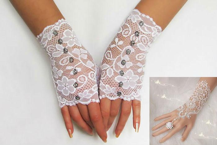 Перчатки с бусинами для невесты