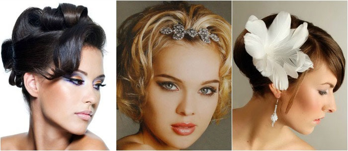Различные варианты укладок для коротковолосых невест