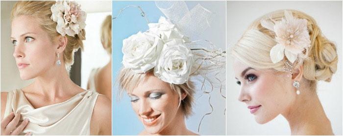 Украшение для укладки на коротких волосах: цветы