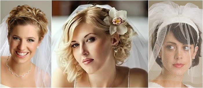 Фата – отличный аксессуар для коротковолосых невест