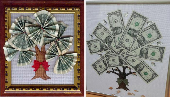 Открытка из денег своими руками на свадьбу, бурундуков