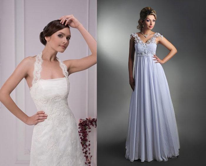 Платье на свадьбу с бретелями для беременной