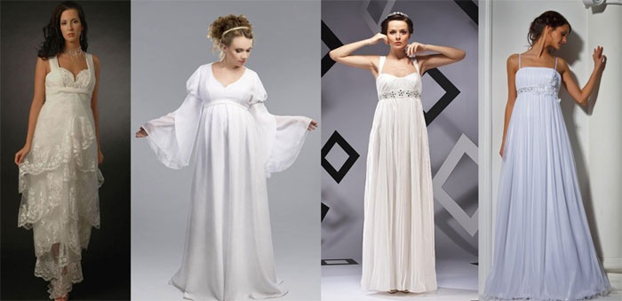 Платье на свадьбу для беременной: греческий стиль