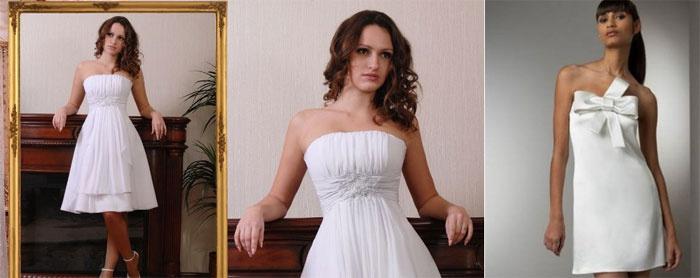 Короткие свадебные наряды А-силуэта для беременных
