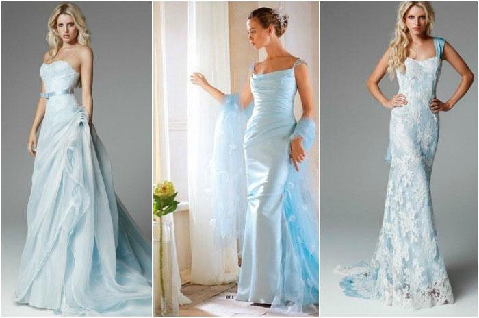 Платья для венчания в оттенках голубого цвета