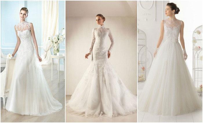 Кружевные модели венчальных платьев