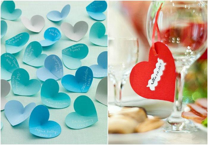 Карточка для рассадки гостей в форме сердечка