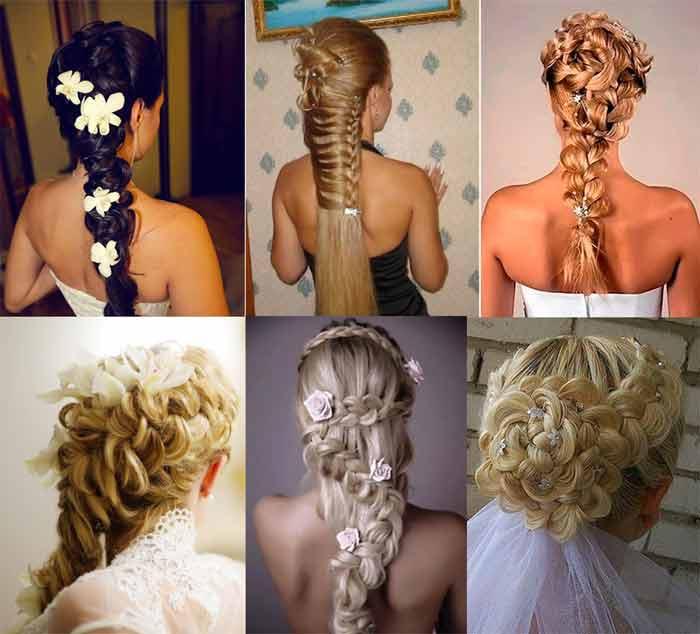 Свадебные укладки из кос с накладными прядями