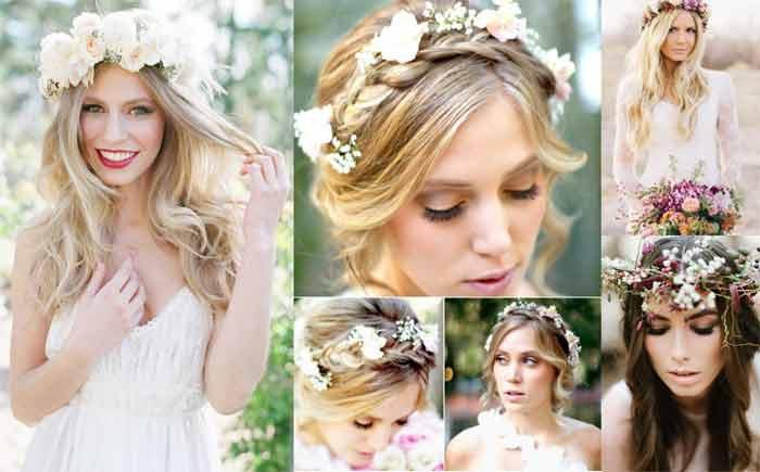 Искусственные бутоны в волосах невесты