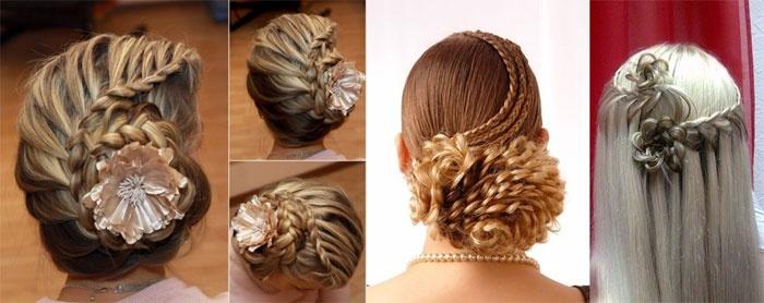 Свадебные прически: косы в форме цветков