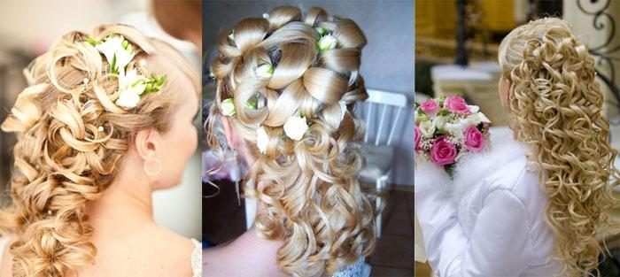 Плетение на распущенных волосах невесты