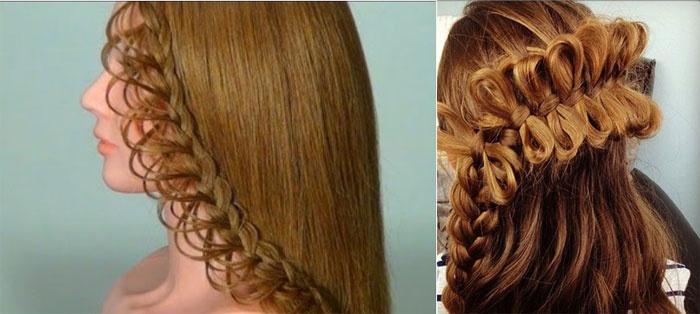Кружевное плетение на волосах невесты