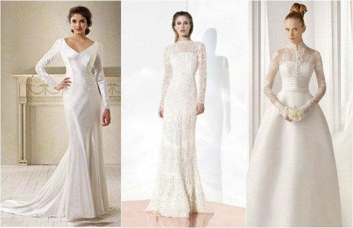 Облегающая модель платья с рукавами для невесты