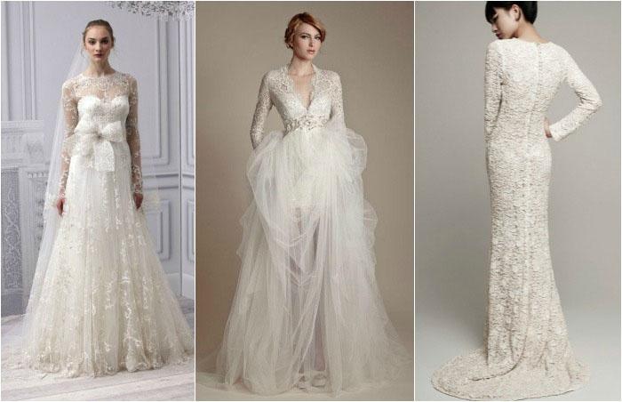Длинный рукав платья для невесты