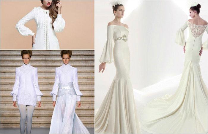 Подвенечные платья: варианты рукавов-бишоп