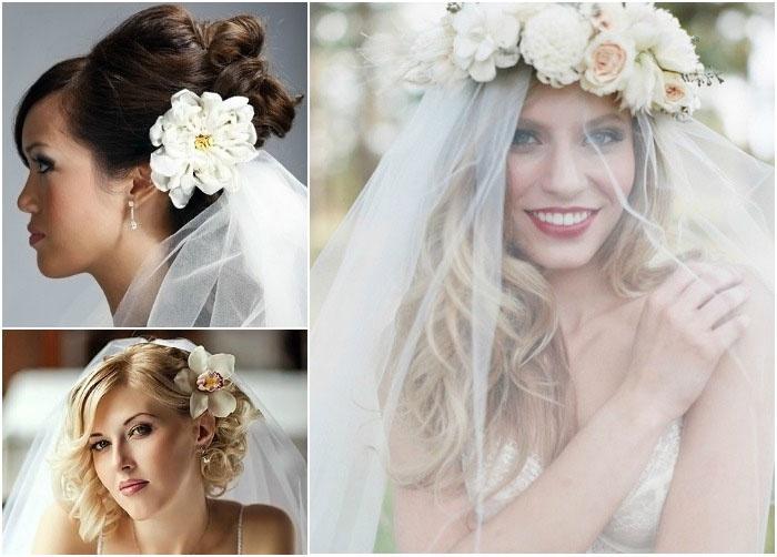 Свадебные прически 2017 с цветами и фатой