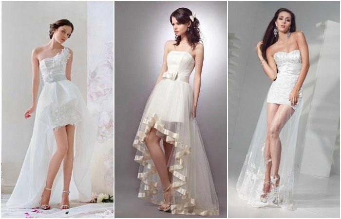 Короткий свадебный наряд с хвостом