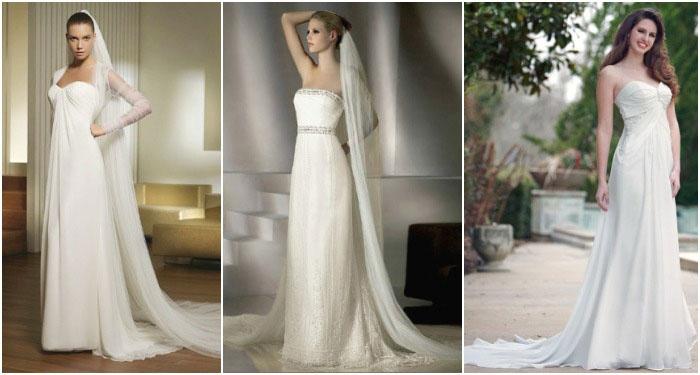 Прямой фасон платья на свадьбу со шлейфом