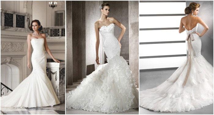 Свадебное платье-русалка с шлейфовым хвостом