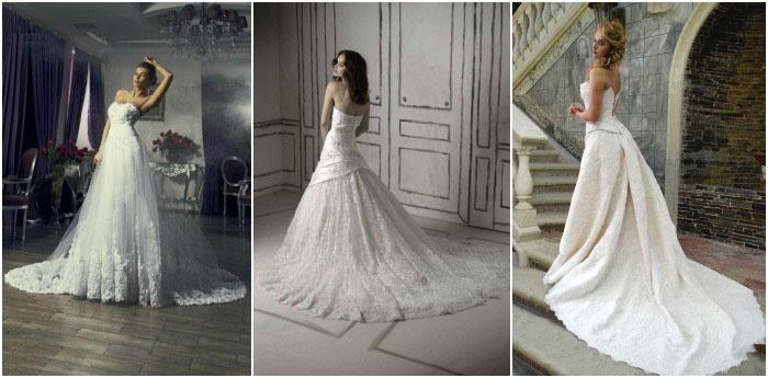 Длинное свадебное платье со шлейфом – классика