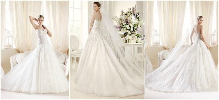 Объемное свадебное платье со шлейфом