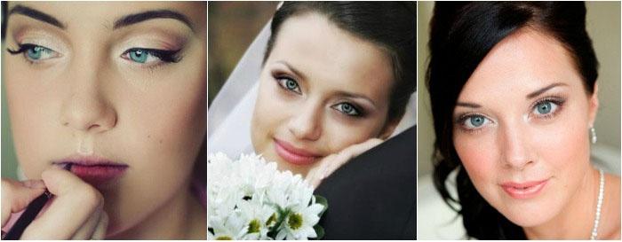 Свадебный макияж: фото для голубоглазых брюнеток
